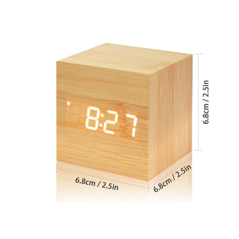 Wooden Digital LED Thermometer Alarm Clock