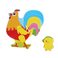 Wooden Rooster Puzzle - Educational Toy