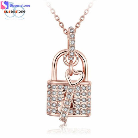 Ladies Lock and Heart Key Rose Gold Chain Necklace
