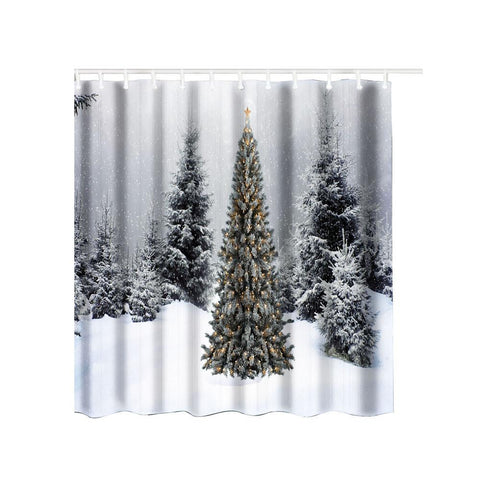 Warm Christmas Waterproof Polyester Shower Curtains With Hooks