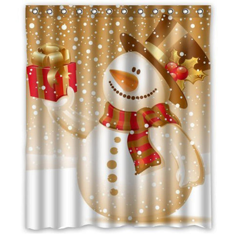 Unique Christmas Snowman Shower Curtain