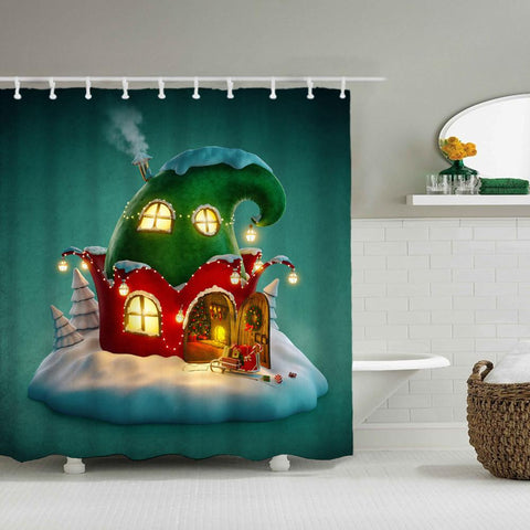 Christmas Waterproof Polyester Bathroom Shower Curtains With Hooks