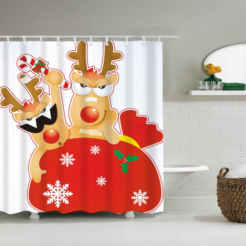 Merry Christmas Waterproof Polyester Shower Curtains With Hooks