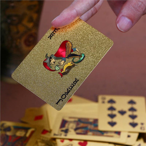Plastic Gold Poker Cards With Wooden Box