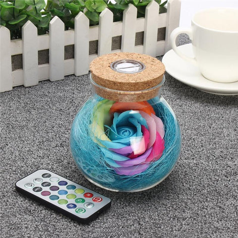 Handmade Eternal Never Withered Rose Wish Bottle With Remote Control 7 Color LED Light