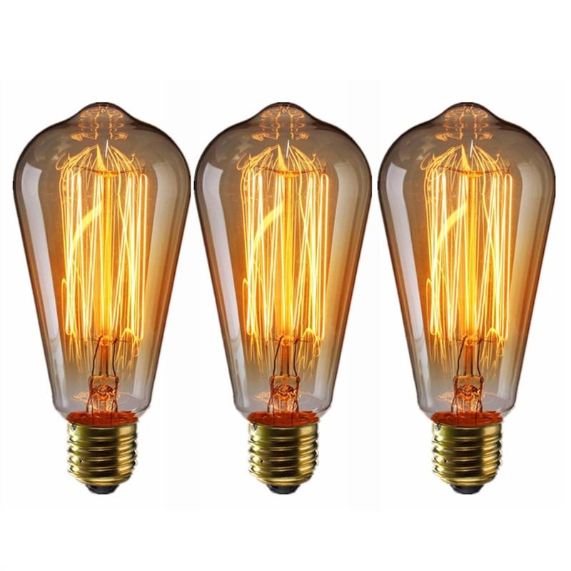 3 Piece E27 Edison Bulbs 60W Tungsten Filament Light Bulb 220V for Home, Hotel Store Light Fixtures