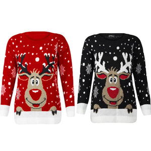 Women's Knitted Long Sleeve Christmas Deer Sweater