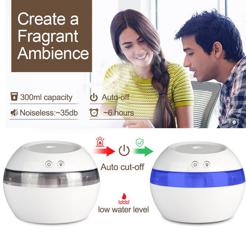 USB Ultrasonic Air Aroma Humidifier With Color LED Lights