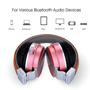 Over The Ear Stereo Wireless Bluetooth Headphones With Microphone