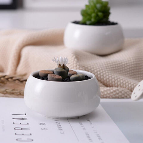 Small Round White Ceramic and Bamboo Potted Stand