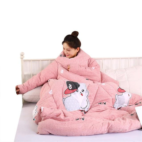 Winter Warm Blanket With Sleeves