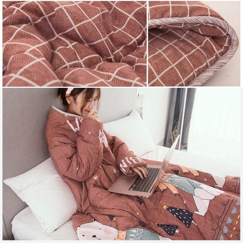 Image of Winter Lazy Quilt with Sleeves and Cute Cartoon Pattern