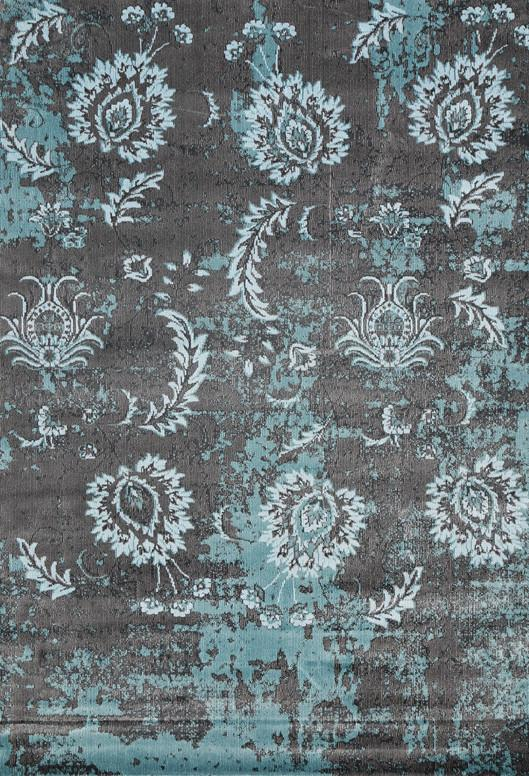 Silky Design Grey Blue Floral Rug