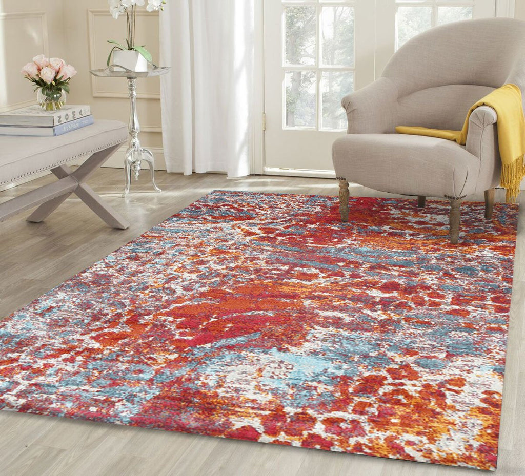 Silky Design Abstract Multi Rust Rug