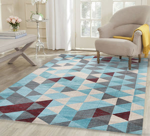 Silky Design Blue Multi Geometric Rug