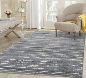 Silky Design Grey Stripes Rug