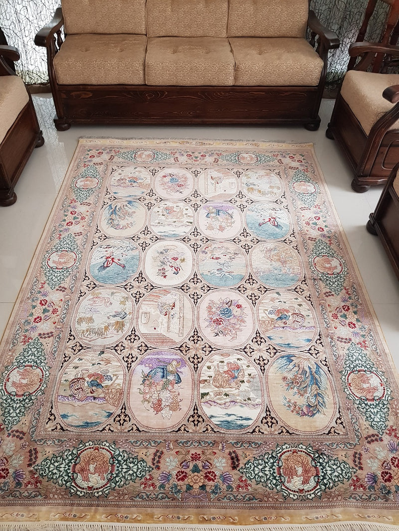 Four Season Silk 39 Central Asia Handmade Multi Rug