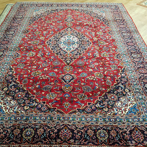 Persian Kashan Red Blue Handmade Rug