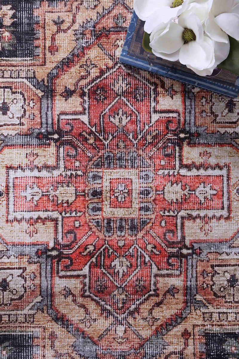 VintageTop Superior Red Black Rug