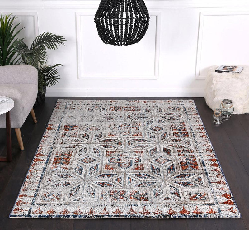 Montage Geometric Navy Red Rug