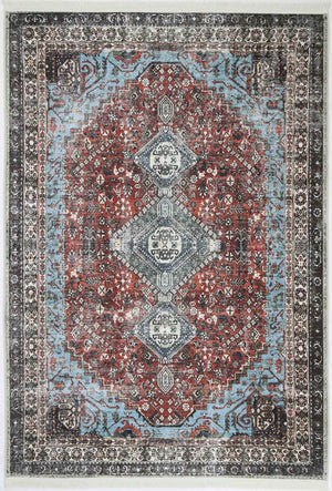 Distressed Vintage Senior Red Blue Rug