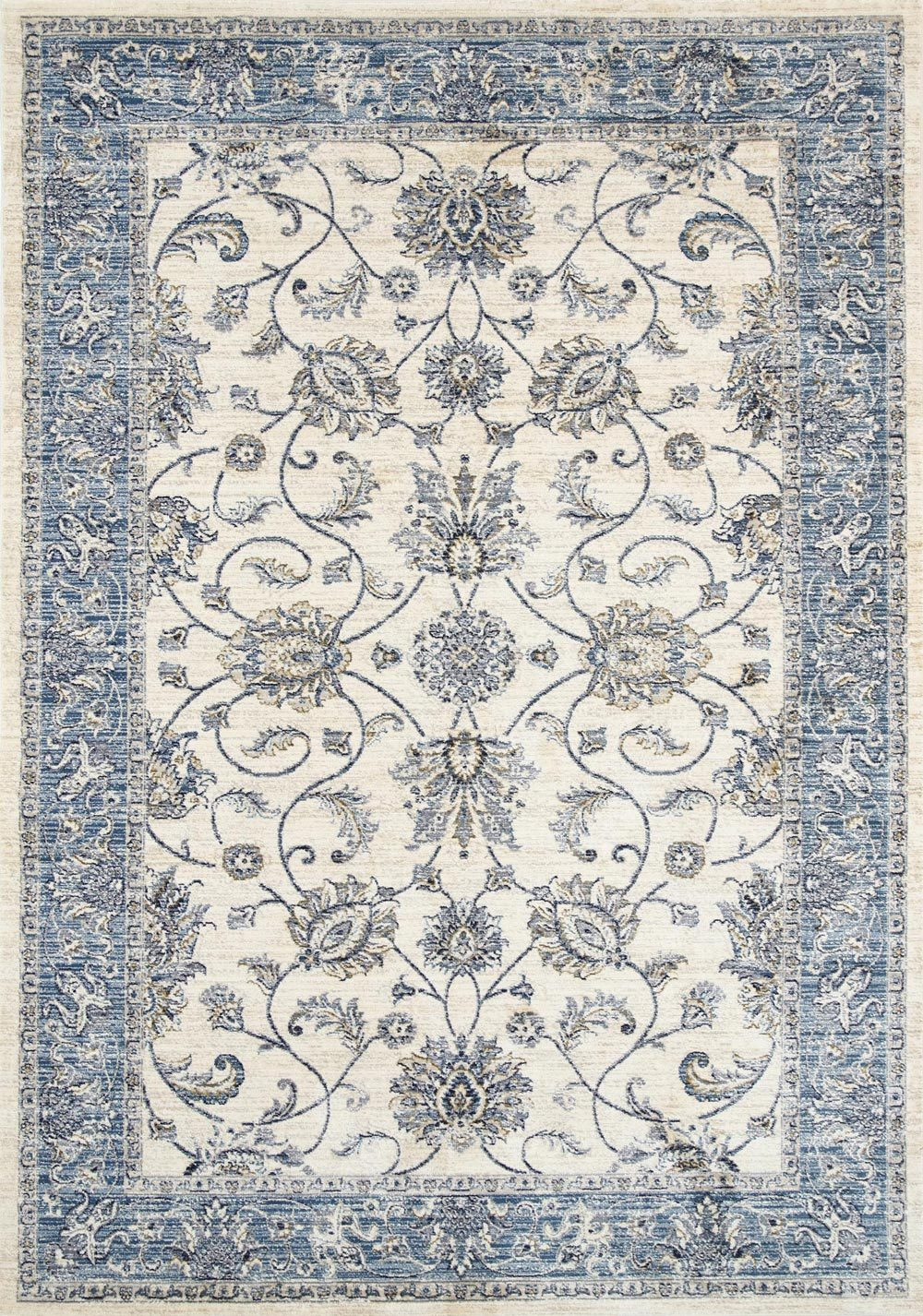 Georgia Vintage Cream Blue Border Rug