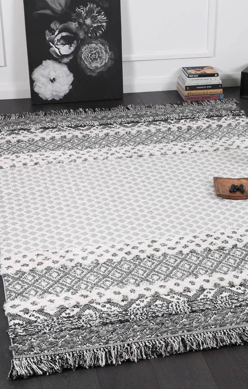 Moroccan Tribal Cream Grey Rug