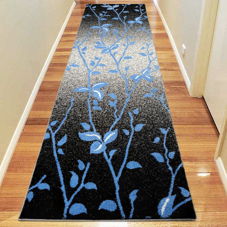 Praise Plant Black Blue Runner Rug