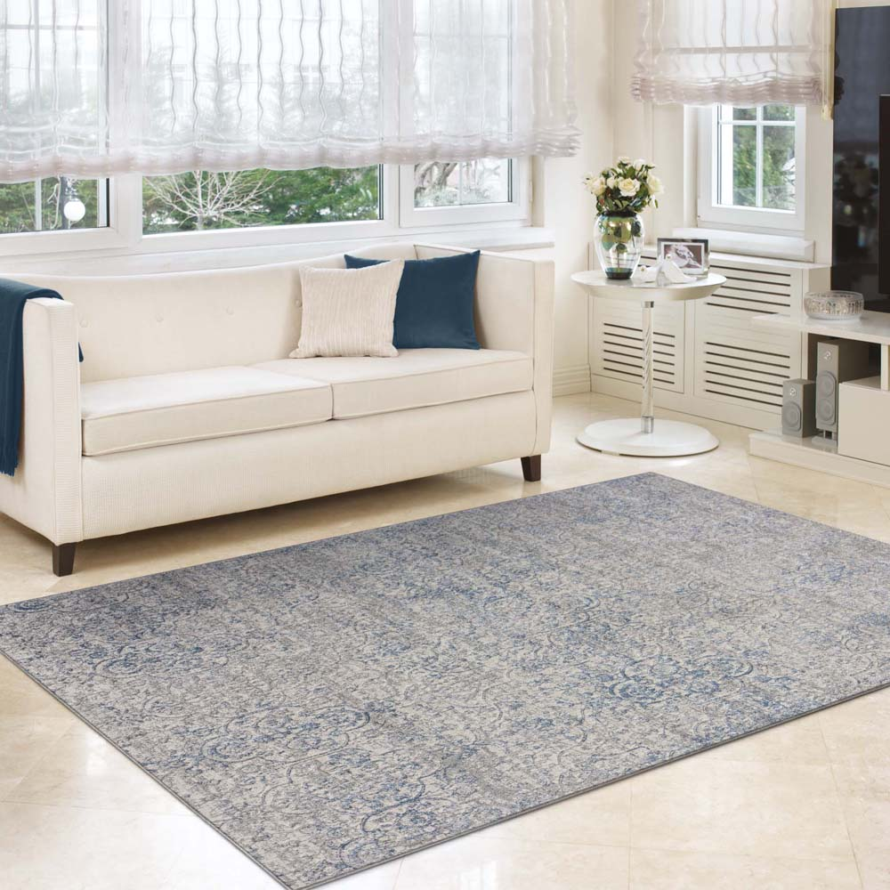 Achromatic Woodland Grey Blue Rug