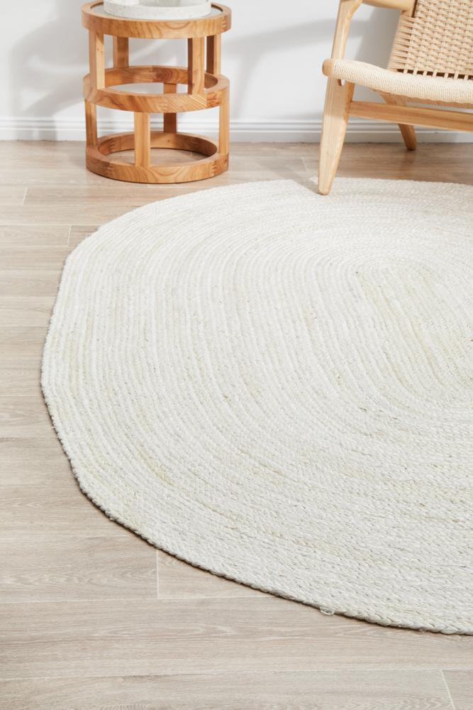 Perky White Oval Rug