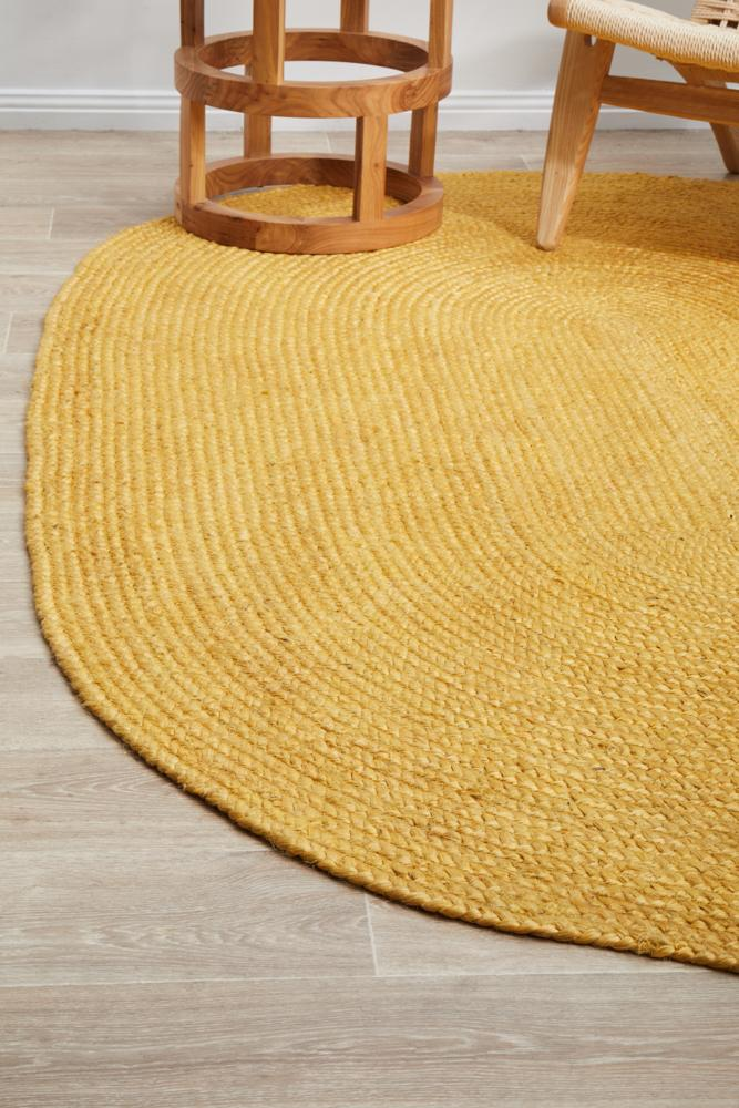 Perky Yellow Oval Rug