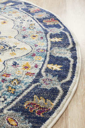 Eclectic TwoOOne Blue Round Rug