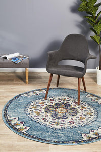 Ounilybabn TwoOTwo Blue Round Rug