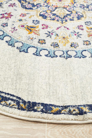 Eclectic TwoOTwo  White Round Rug