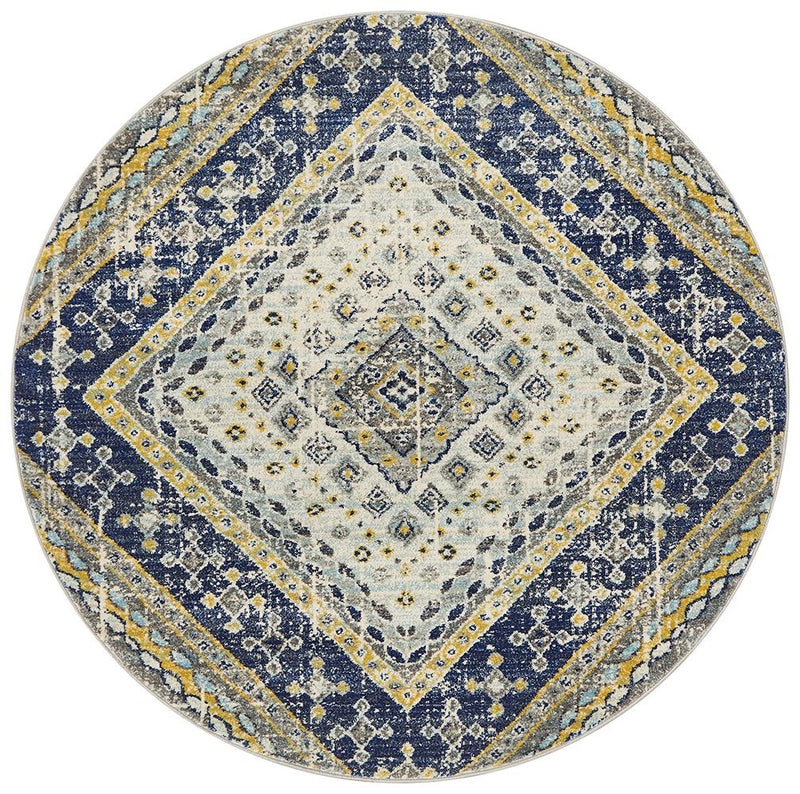 Eclectic TwoOThree Round Navy Rug