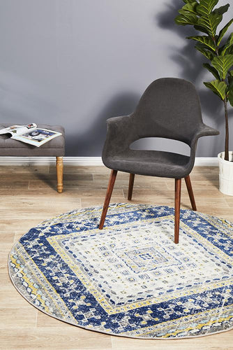 Ounilybabn TwoOThree Navy  Round Rug