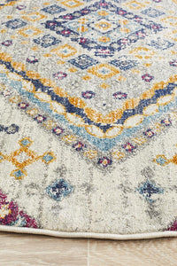 Eclectic TwoOThree Round White Rug