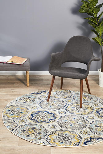 Ounilybabn TwoOFour Blue  Round Rug