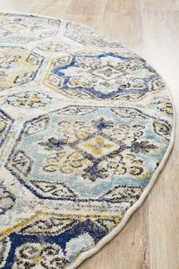 Eclectic TwoOFour Blue Round Rug