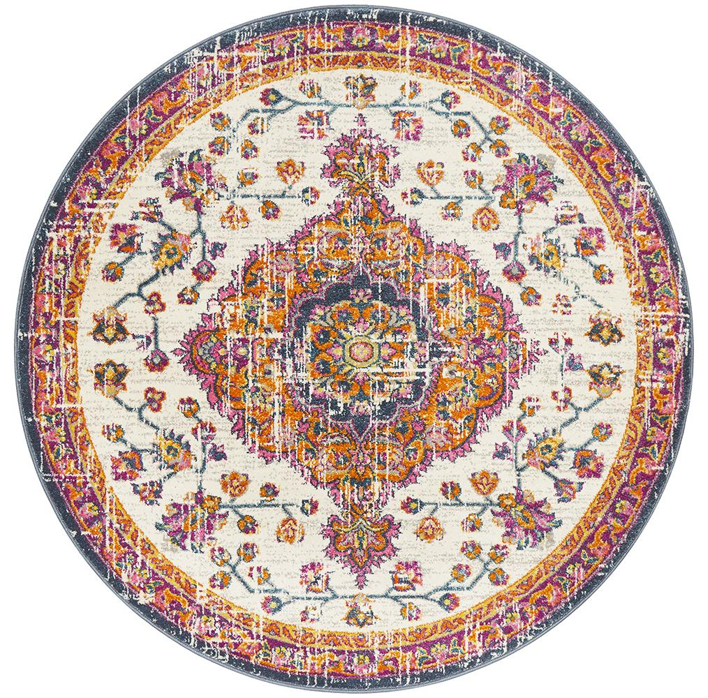 Eclectic TwoOFive White Round Rug