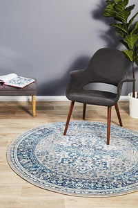 Eclectic TwoOSeven Blue Round Rug