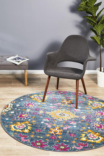 Ounilybabn TwoOneO Blue  Round Rug