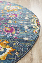 Eclectic TwoOneO Blue  Round Rug
