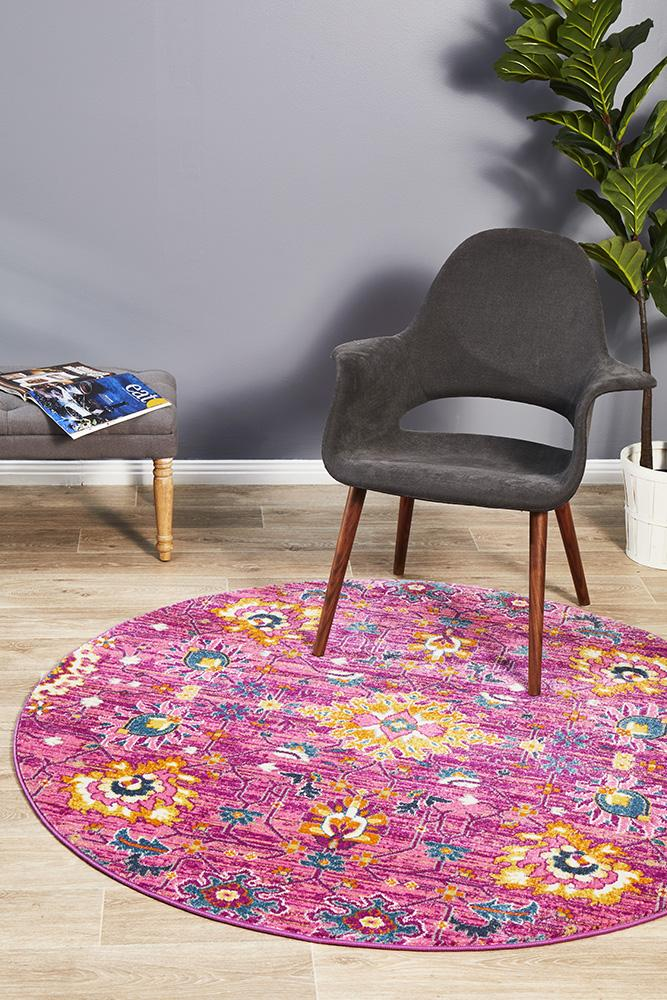 Eclectic TwoOneO Fuchsia Round Rug