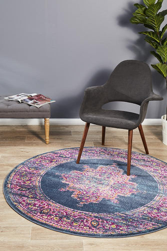 Ounilybabn TwoOneOne Navy  Round Rug