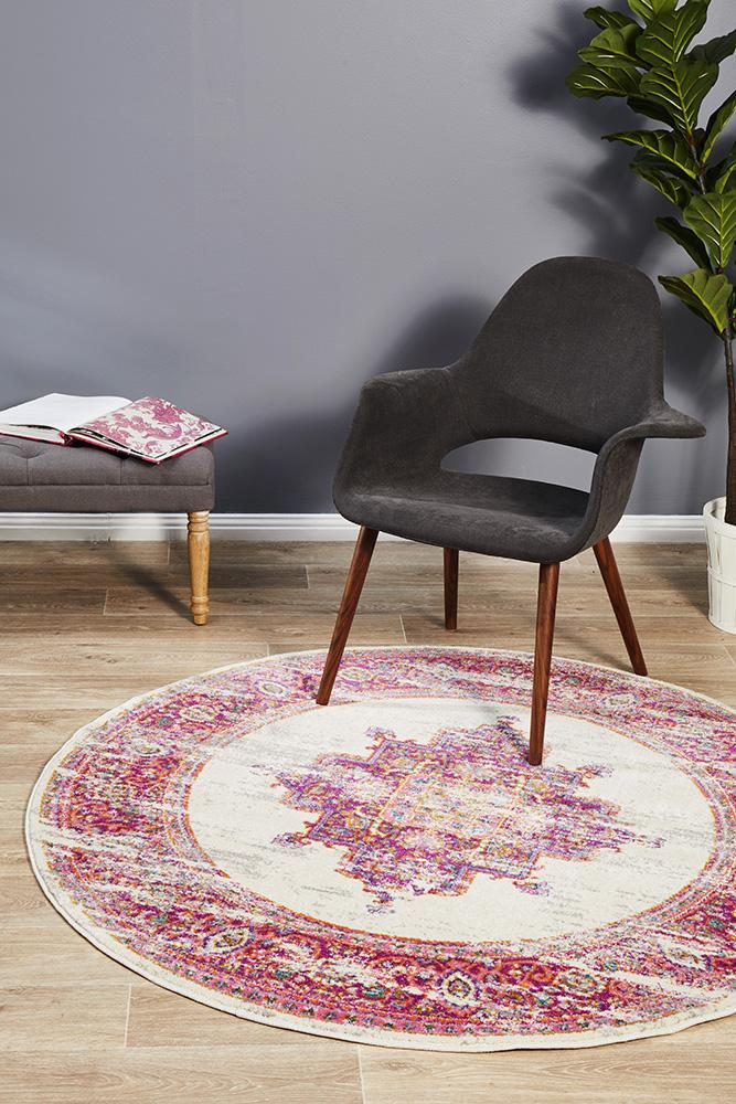 Eclectic TwoOneOne Pink  Round Rug