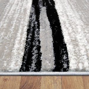 Beantown Line Grey Runner Rug