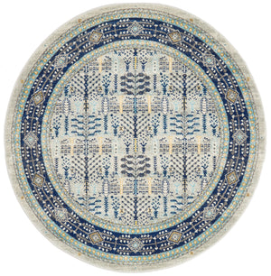 Rhythmic Musical Blue Round Rug