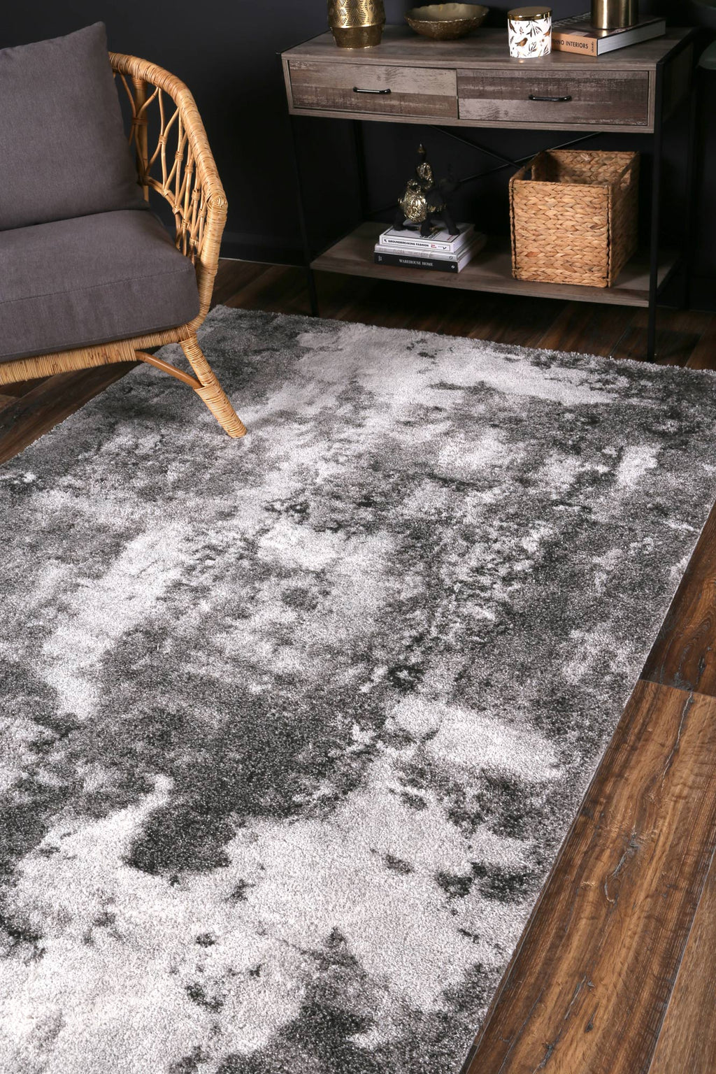 Yuzil White Grey Abstract Rug