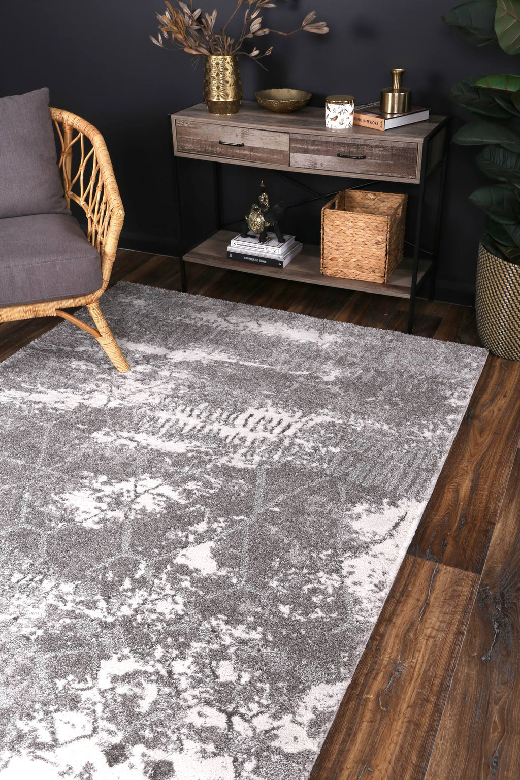 Yuzil Grey Abstract Rug